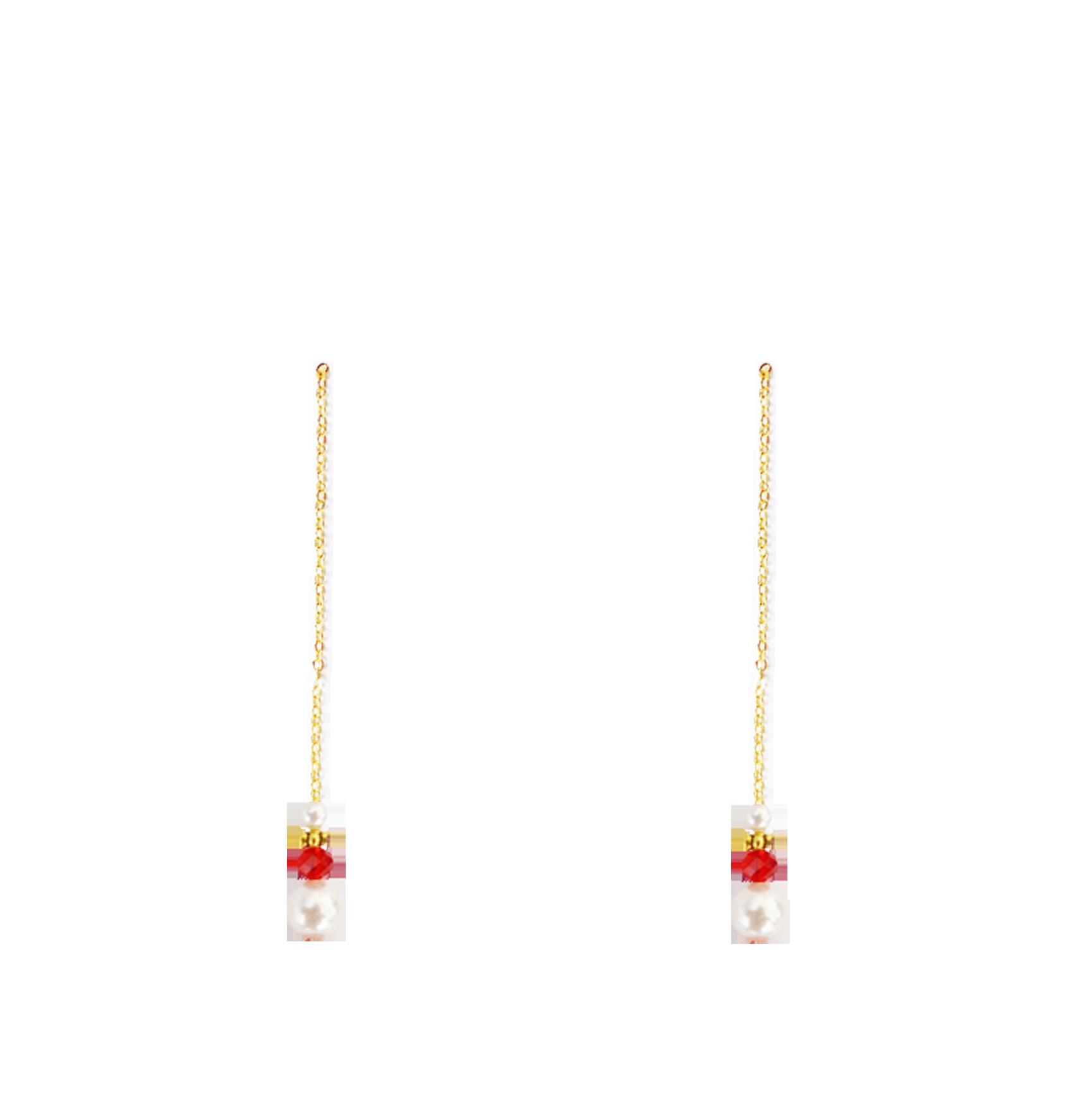 Perles rouges bas longues