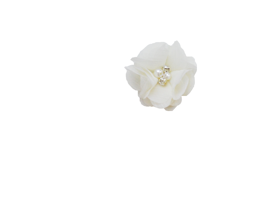 Fleur ivoire strass
