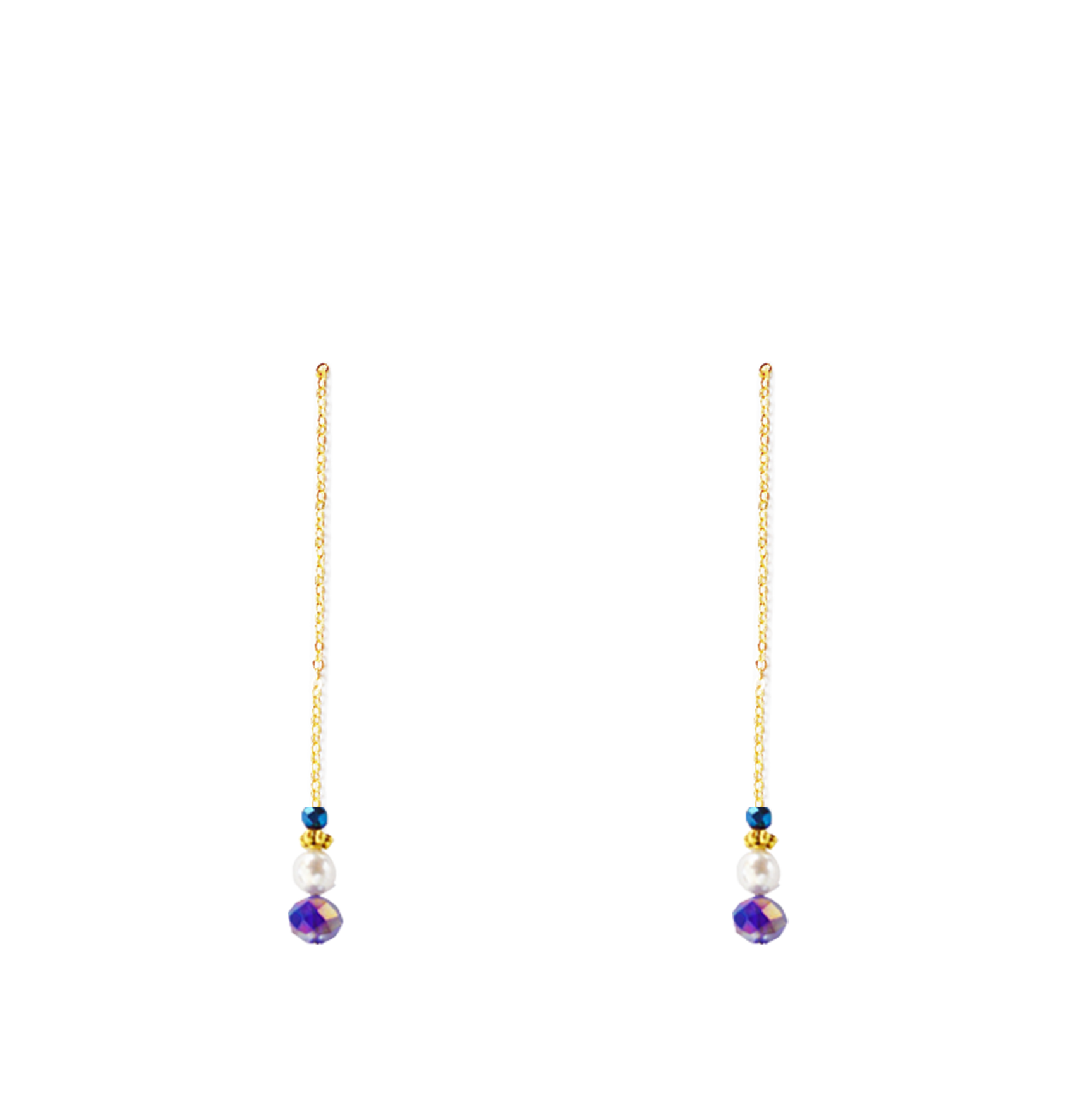 perles bleues bas longues