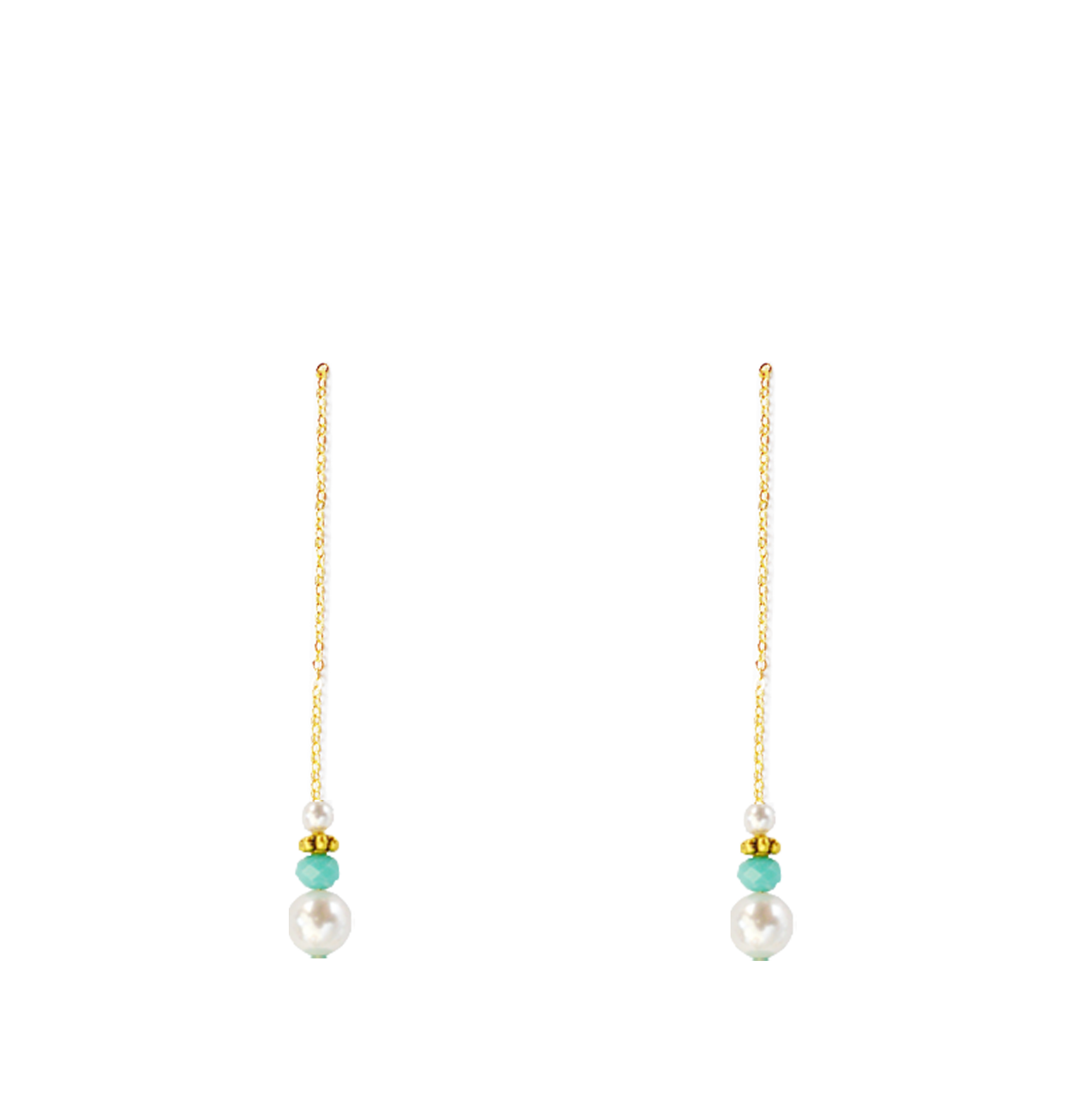 perles turquoise bas longues