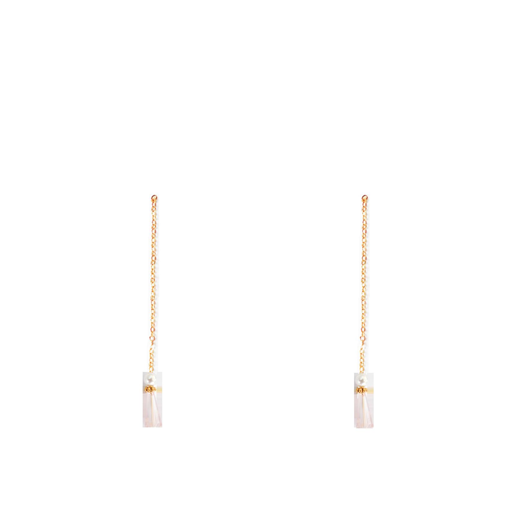 perles cristal nacrées rose pendantes