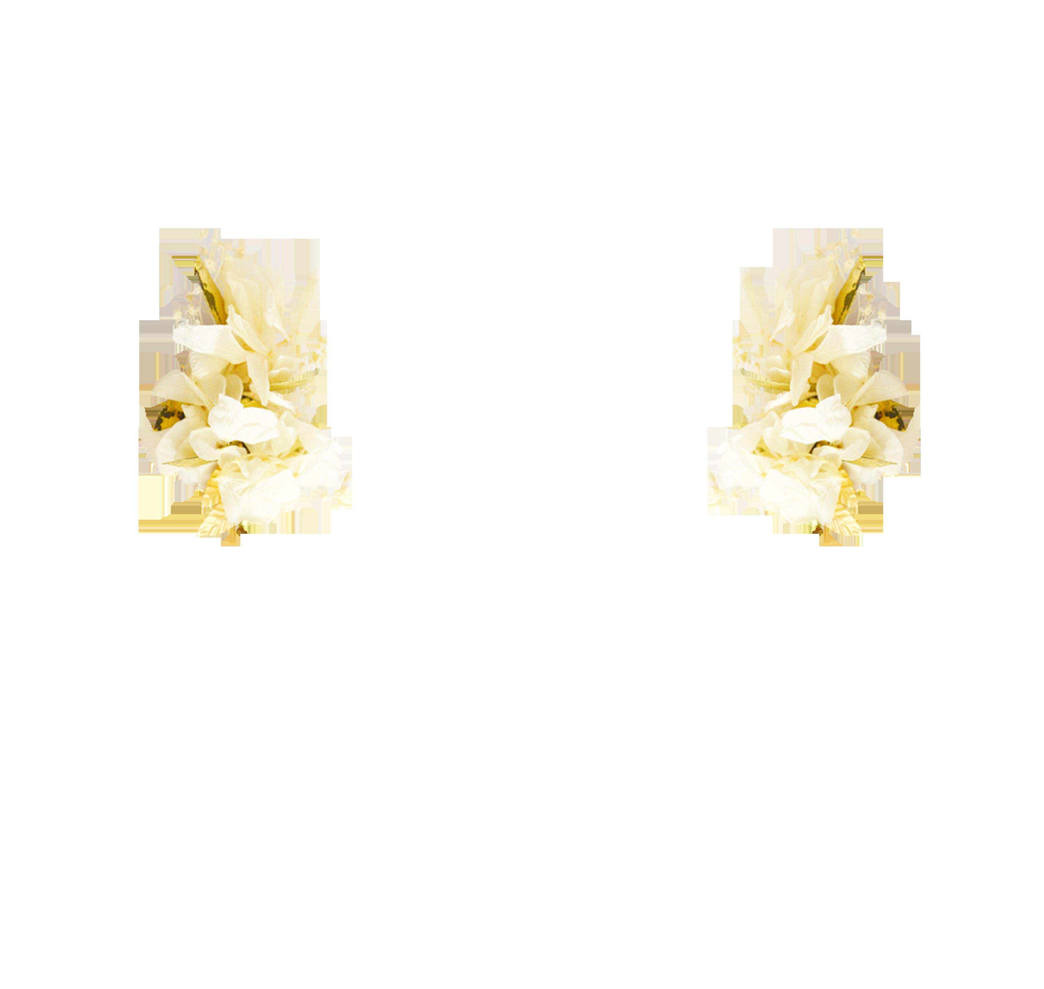 fleurs éternelles ivoire et or