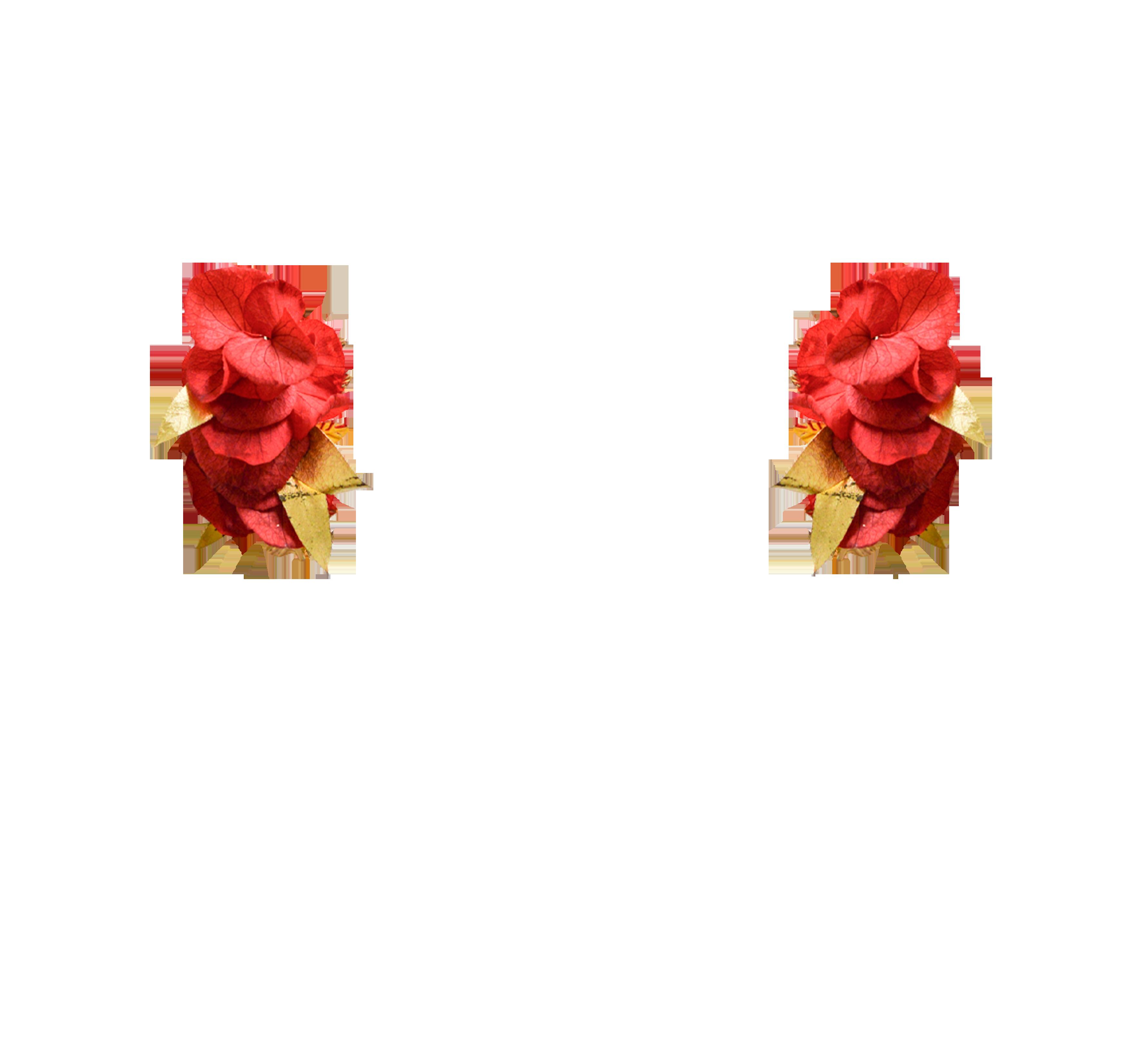 fleurs éternelles rouges et or