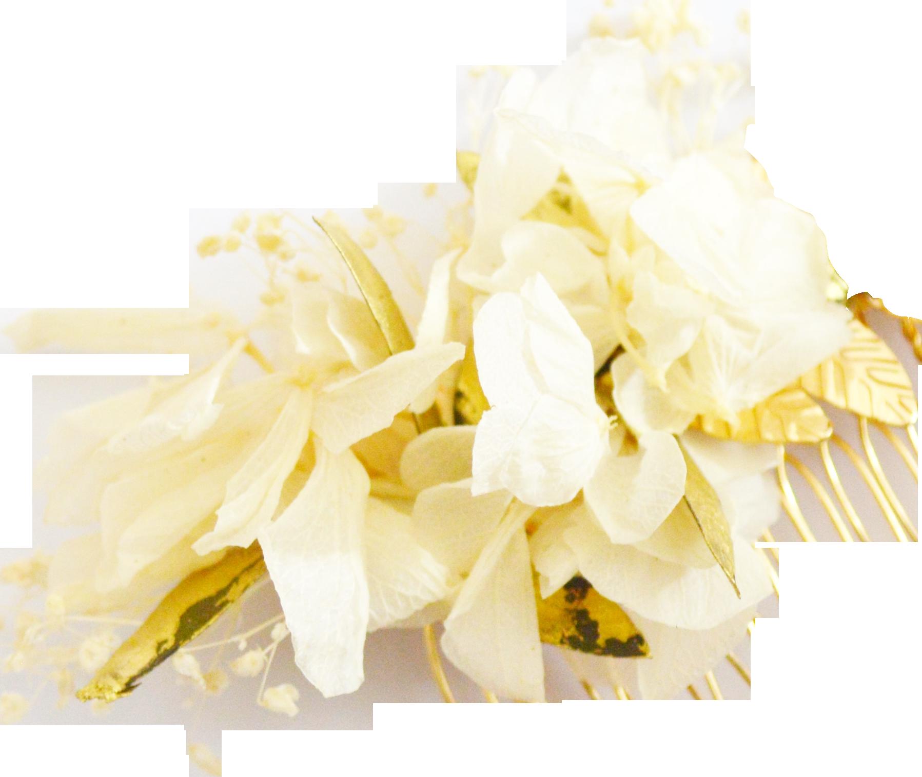 Fleurs éternelles ivoire or