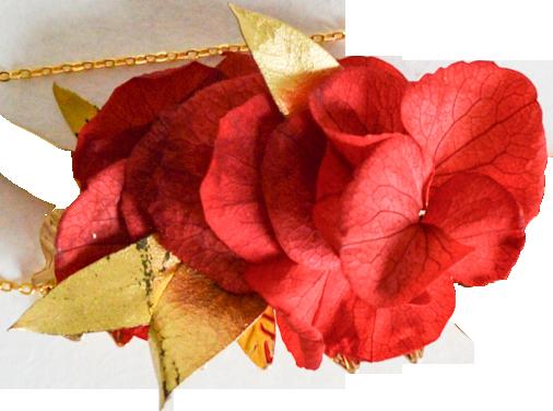 hortensias rouges et or ARGENT